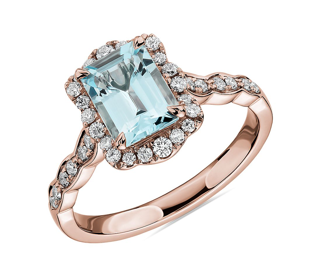 Emerald Cut Aquamarine Ring with Diamond Halo in 14k Rose Gold
