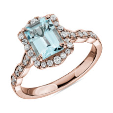 NEW Emerald Cut Aquamarine Ring with Diamond Halo in 14k Rose Gold