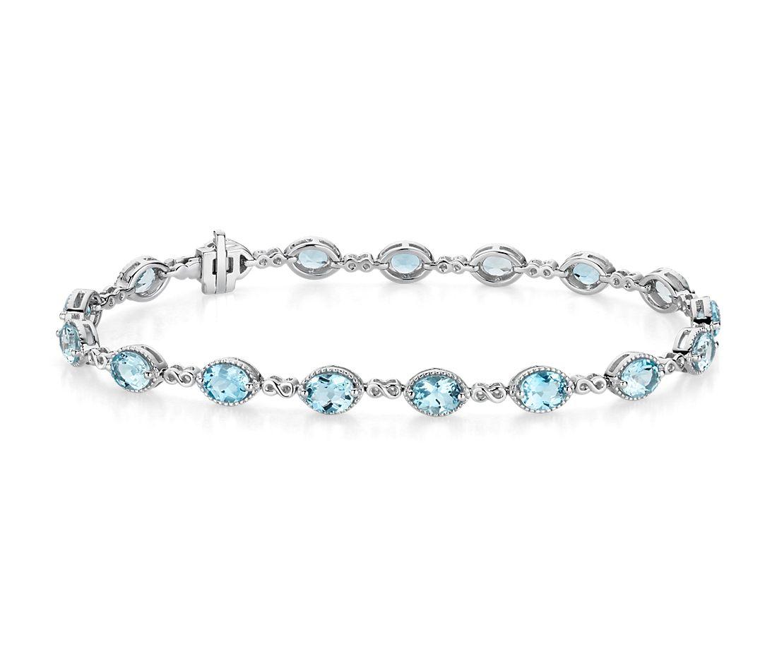 14k 白金海蓝宝石无限式链节式手链(5x4毫米)