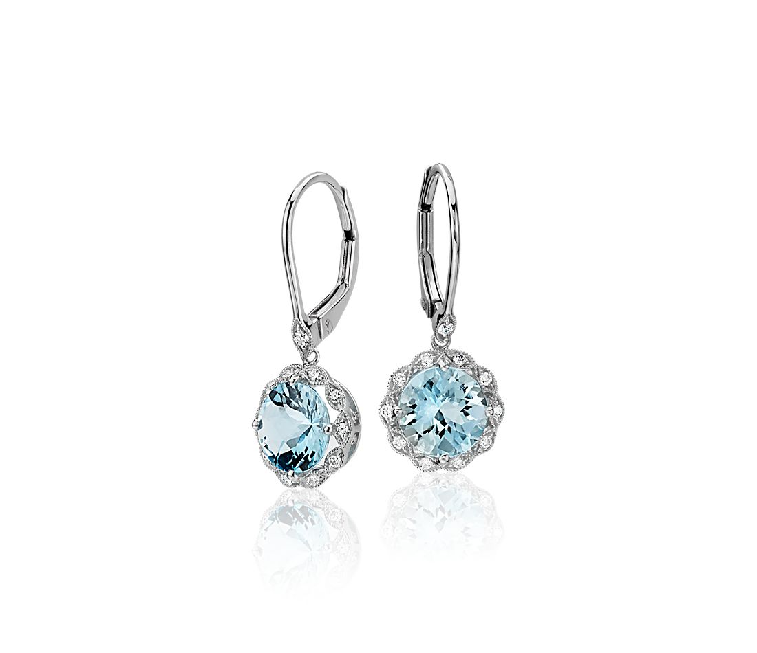 Aquamarine And Diamond Milgrain Halo Leverback Drop Earrings In 14k White Gold 7mm