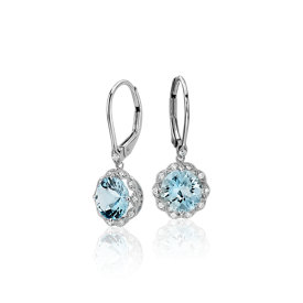 Aquamarine and Diamond Milgrain Halo Leverback Earrings in 14k White Gold (7mm)