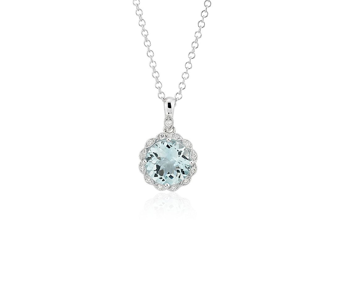 Aquamarine and Diamond Milgrain Halo Pendant Necklace in 14k White Gold (8mm)