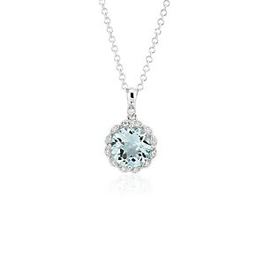 NEW Aquamarine and Diamond Milgrain Halo Pendant Necklace in 14k White Gold (8mm)