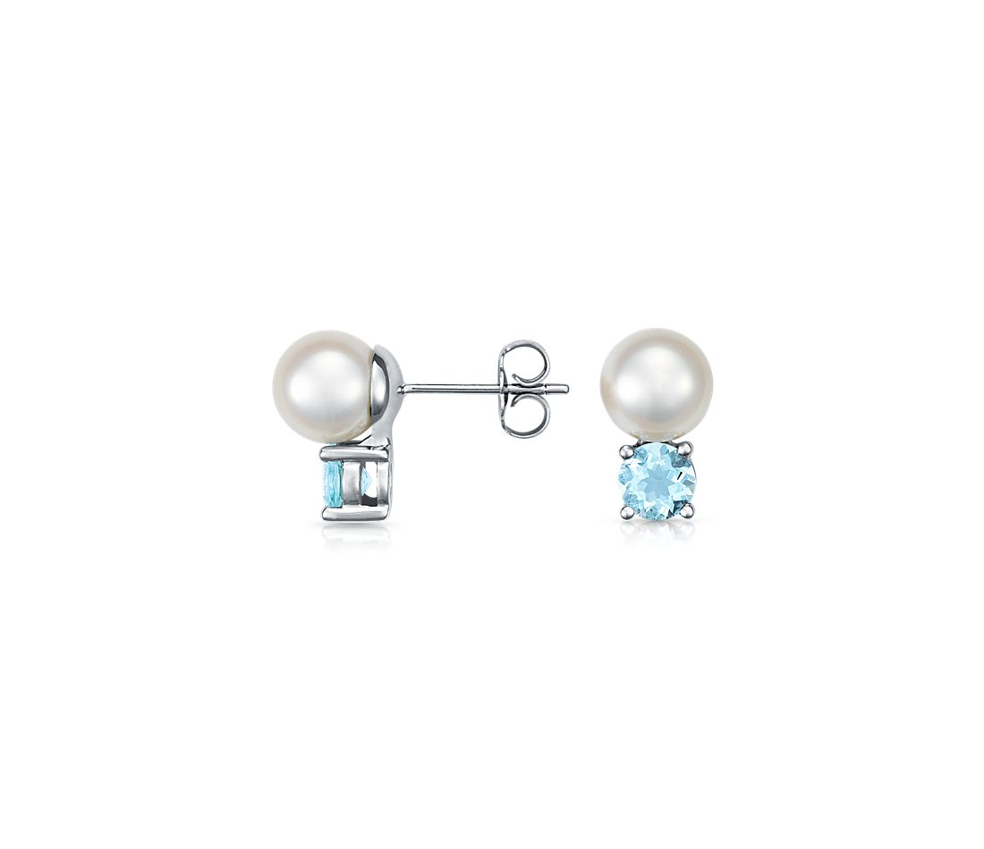 Freshwater Cultured Pearl And Aquamarine Earrings With 14k White Gold 7 5mm