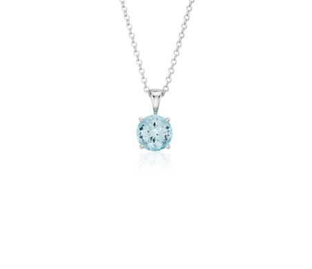 Aquamarine Solitaire Pendant in 14k White Gold (7mm)