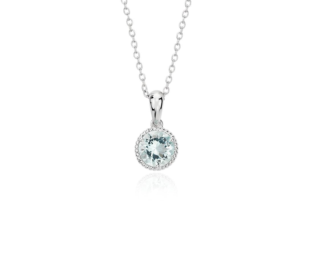 Aquamarine Rope Pendant in Sterling Silver (7mm)
