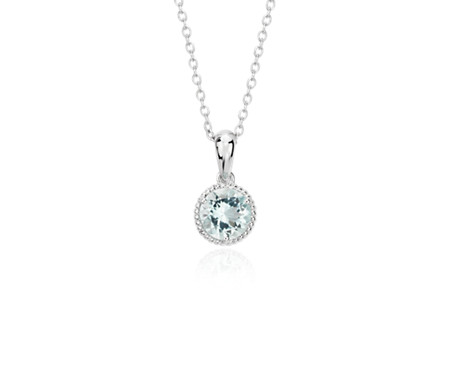 necklaces silver sterling aquamarine marine hiho march cz necklace birthstone aqua