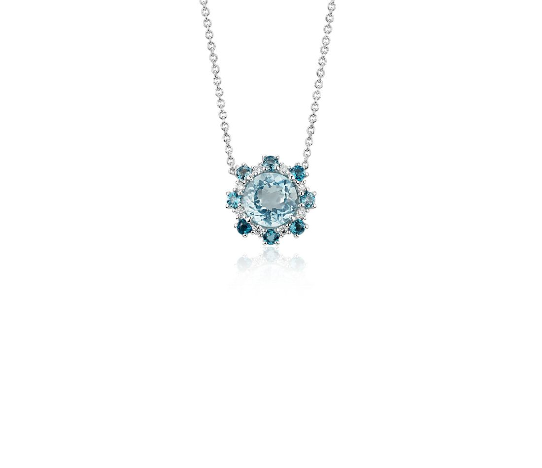 Aquamarine Pendant with London Blue Topaz and Diamond Halo in 14k White Gold (6mm)