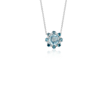 Aquamarine and London Blue Topaz Diamond Halo Pendant in 14k White Gold (6mm)