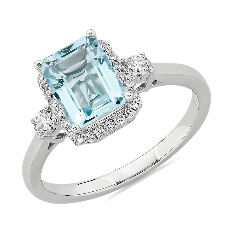 Aquamarine Ring with Diamond Halo in 14k White Gold