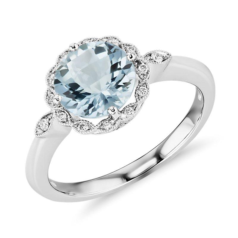 Aquamarine and Diamond Milgrain Halo Ring in 14k White Gold (8mm)