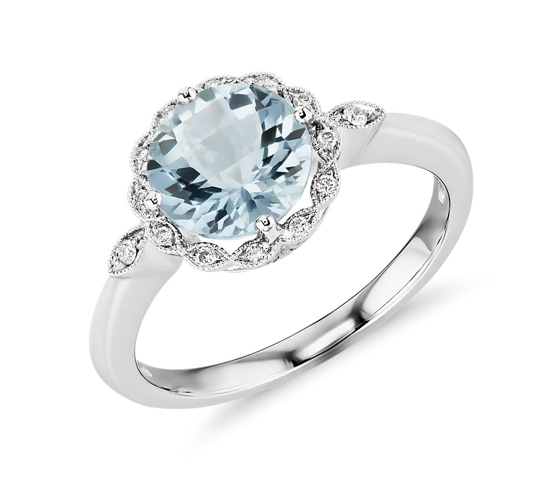 aquamarine and diamond milgrain halo ring in 14k white gold 8mm - Aquamarine Wedding Ring