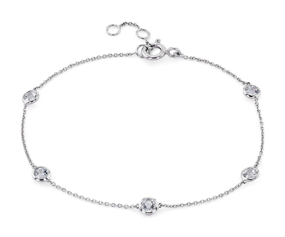 14k 白金海蓝宝石固定包边镶手链<br>(3毫米)