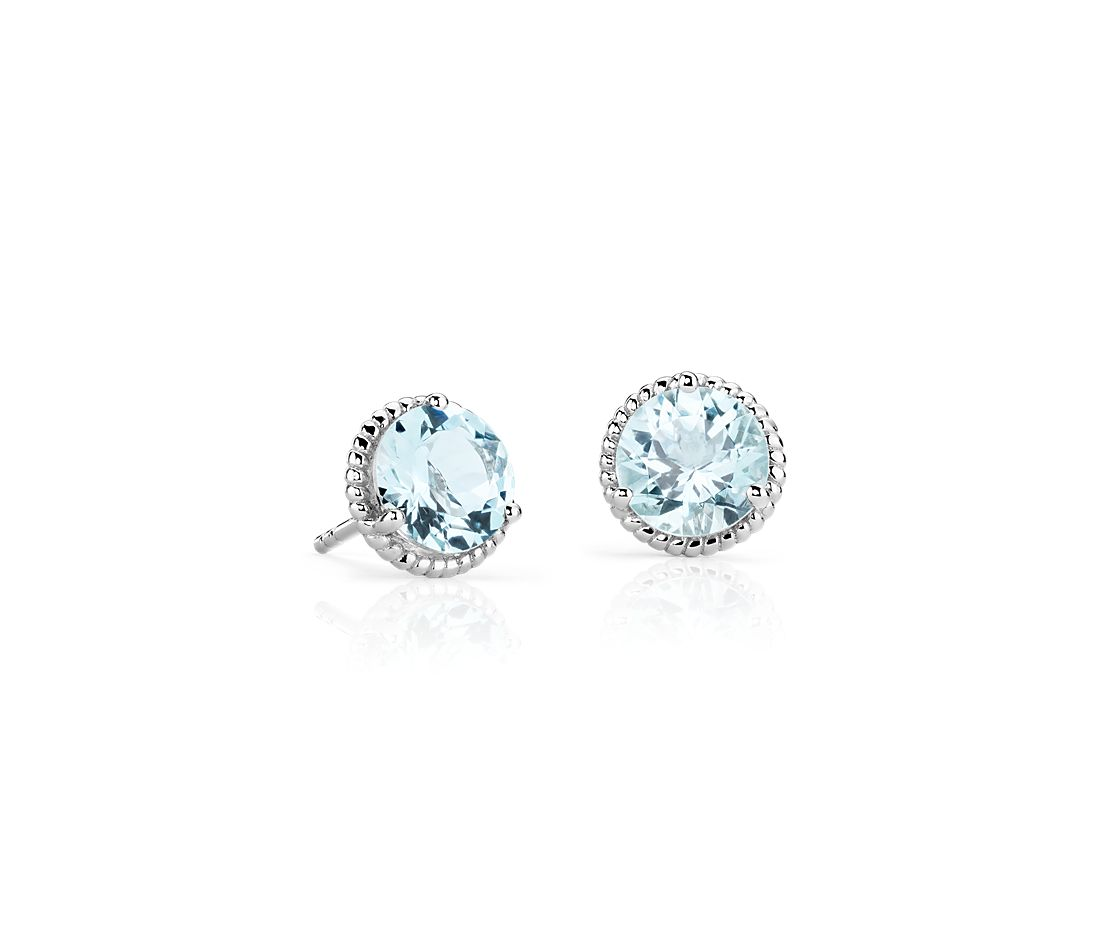 Aquamarine Rope Stud Earrings in Sterling Silver (7mm)