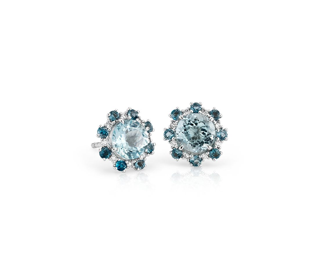 Aquamarine And London Blue Topaz Diamond Halo Stud Earrings In 14k White Gold 6mm