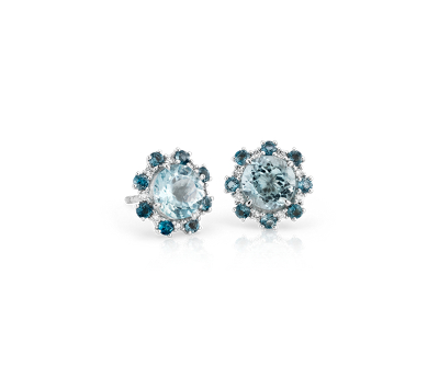 Aquamarine and London Blue Topaz Diamond Halo Stud Earrings