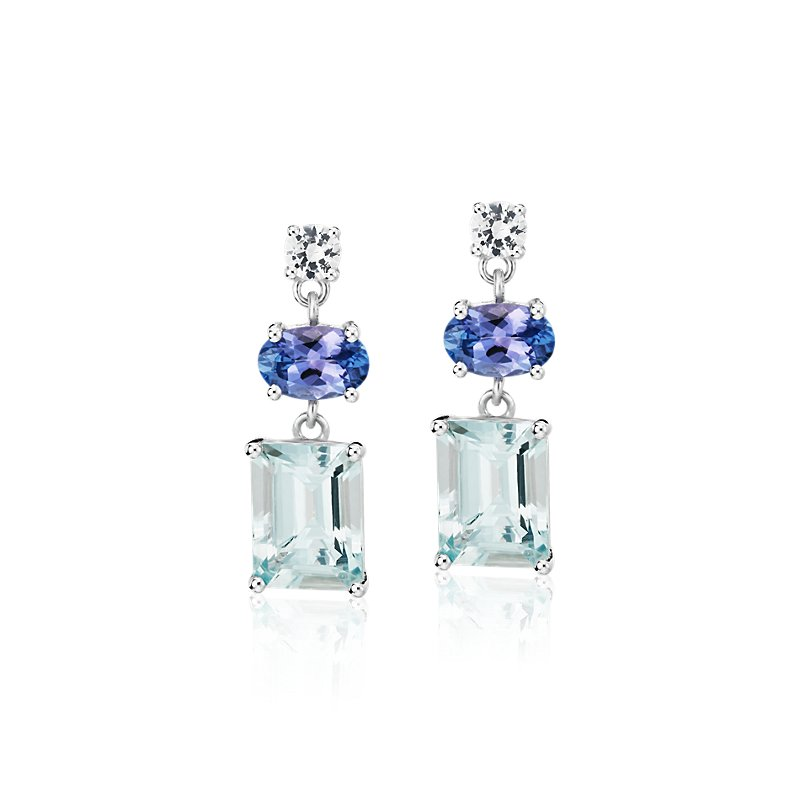Aquamarine, Tanzanite, and White Sapphire Mixed Shape Drop Earrin