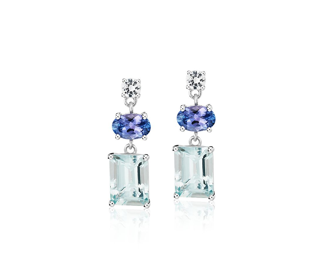 Aquamarine, Tanzanite, and White Sapphire Mixed Shape Drop Earrings in Sterling Silver