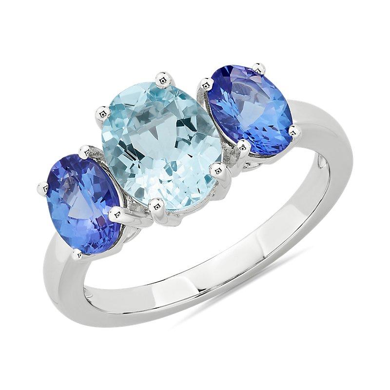 Aquamarine and Tanzanite Ring in 14k White Gold