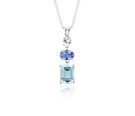 Aquamarine, Tanzanite and White Sapphire Tower Pendant in Sterling Silver