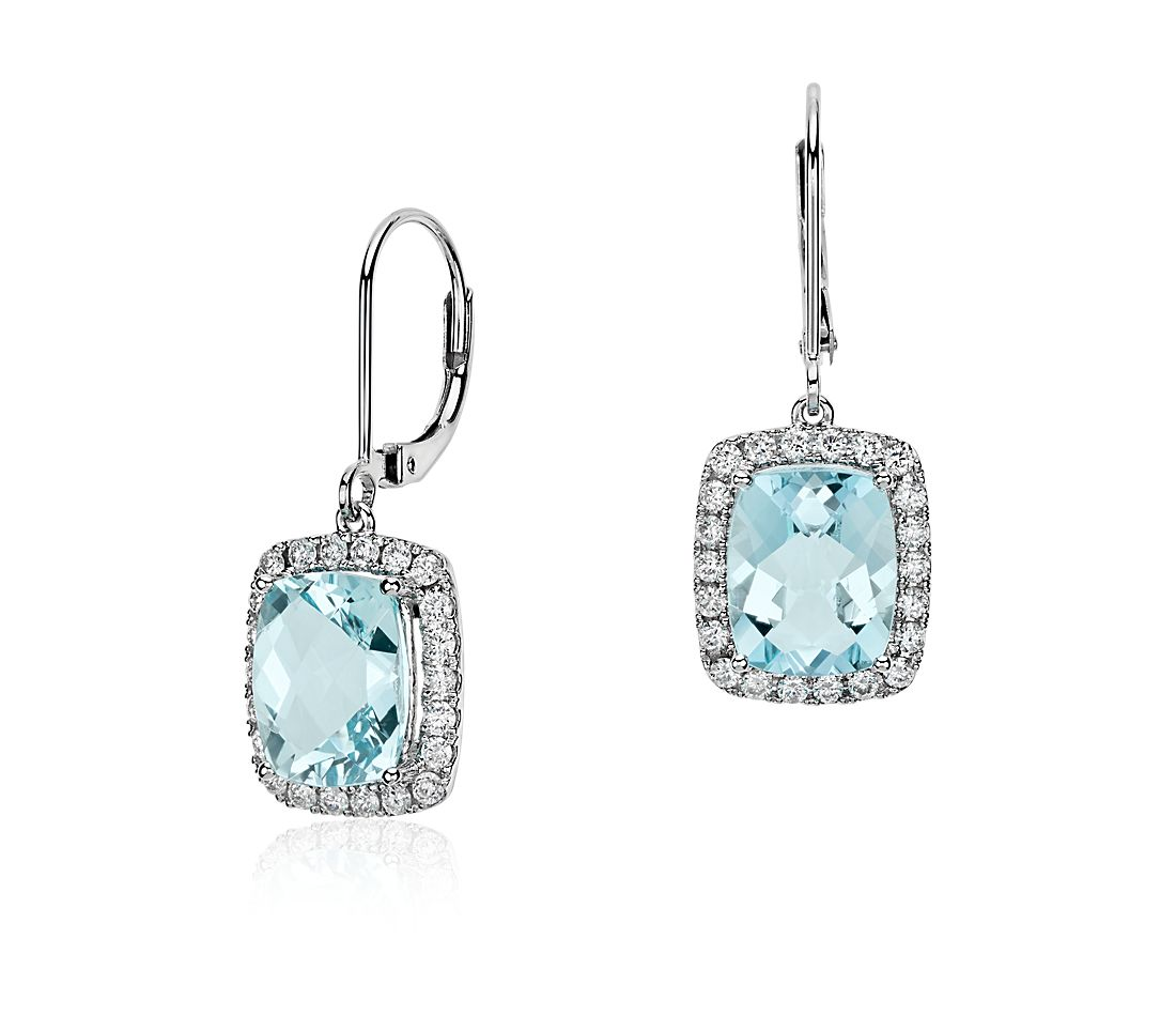Cushion Cut Aquamarine And Diamond Drop Earring In 18k White Gold 10x8mm