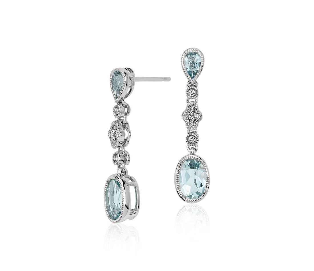 Aquamarine And White Shire Drop Earrings In 14k Gold 7x5mm