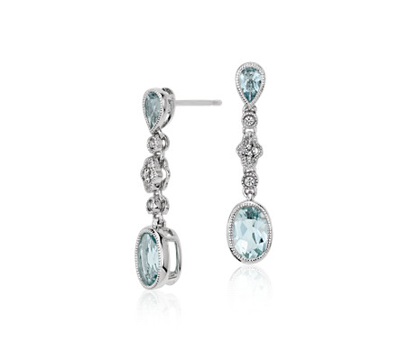 Aquamarine and White Sapphire Drop Earrings in 14k White Gold (7x5mm)