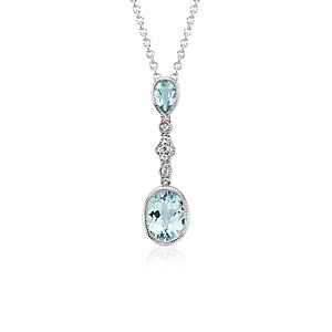 Aquamarine and White Sapphire Pendant in 14k White Gold (9x7mm)