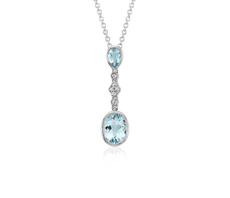 Aquamarine and white sapphire pendant in 14k white gold 9x7mm aquamarine and white sapphire pendant in 14k white gold 9x7mm mozeypictures