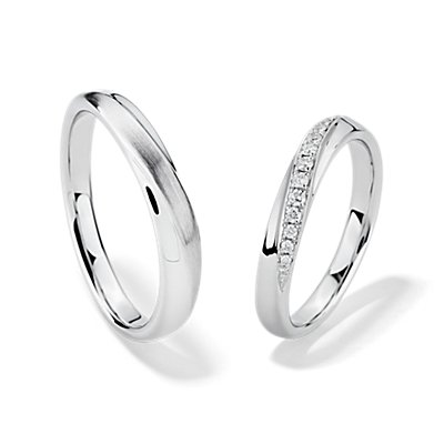 Arch Set with Diamonds in 18k White Gold