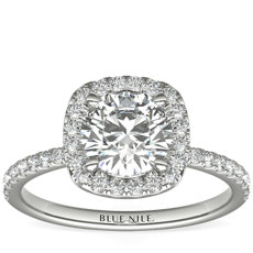 Arietta Halo Diamond Engagement Ring in Platinum (0.21 ct. tw.)