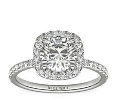 Bague de fiançailles halo de diamants Arietta en platine (0,21carat, poids total)