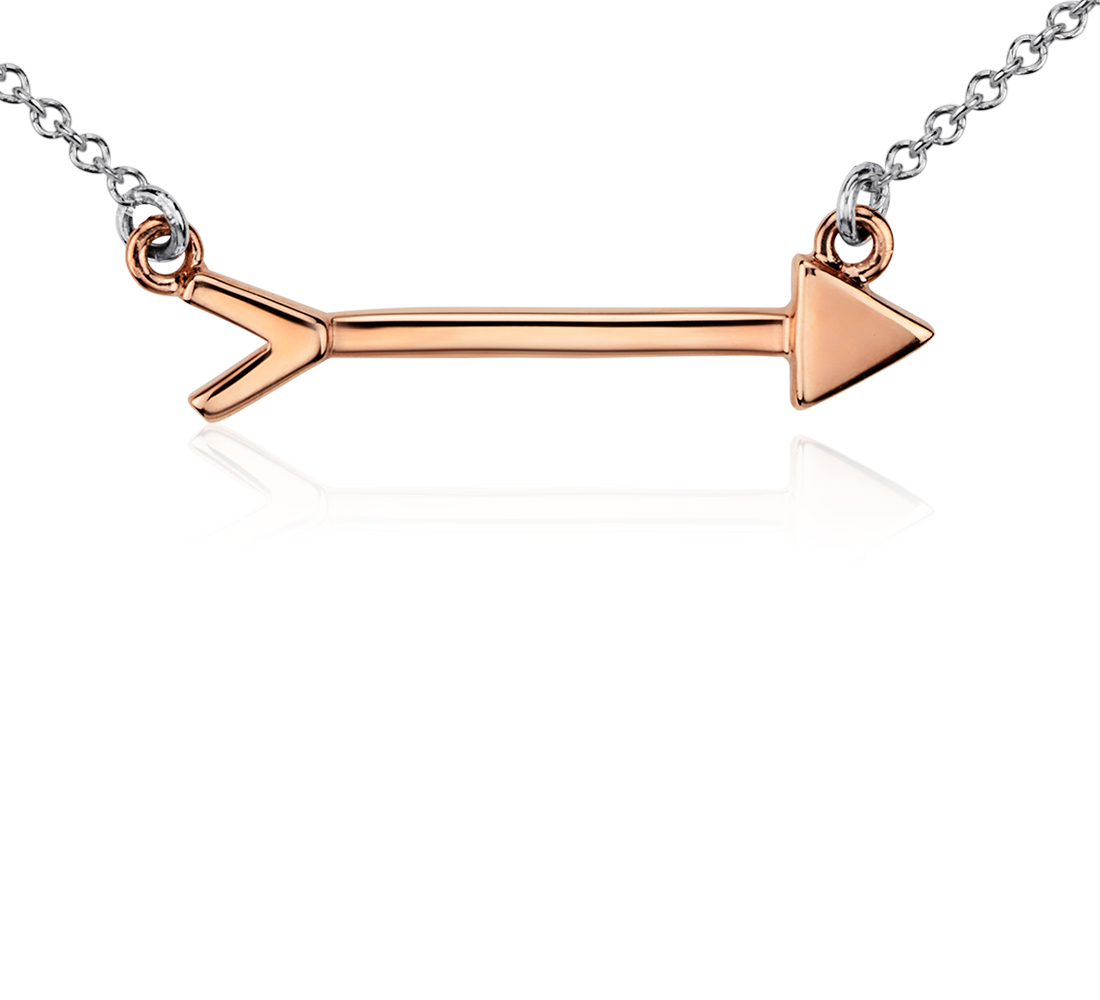 Arrow Necklace in Sterling Silver and Rose Gold Vermeil