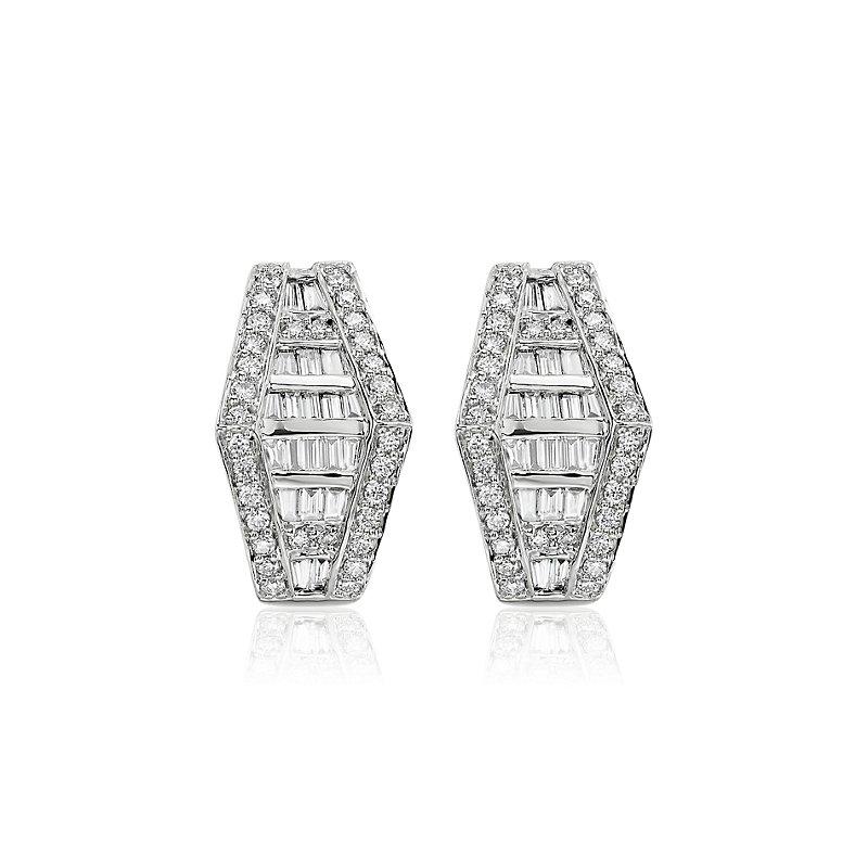 Art Deco Inspired Baguette Diamond Hoop Earrings in 14k White Gol
