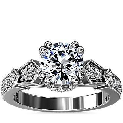 Art-Deco Inspired Double Claw Diamond Engagement Ring in 14k White Gold (1/5 ct. tw.)