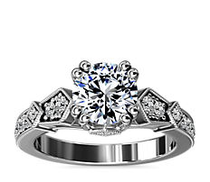 Art-Deco Inspired Double Prong Diamond Engagement Ring in 14k White Gold (1/5 ct. tw.)