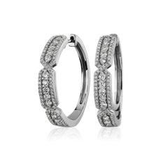 NEW Art Deco Inspired Hoops in 14k White Gold (1 ct. tw.)