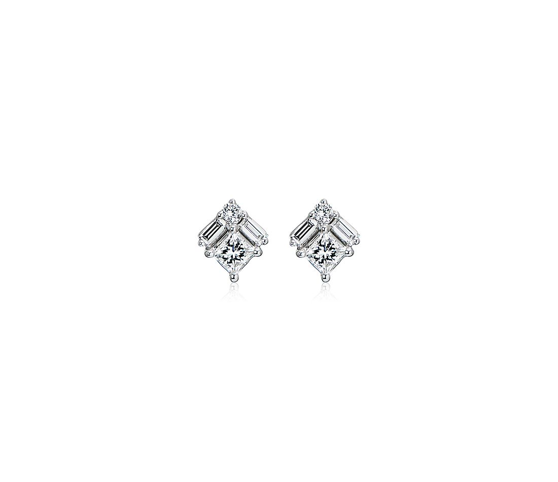 Art Deco Inspired Round and Baguette Diamond Earrings in 14k White Gold (1/2 ct. tw)