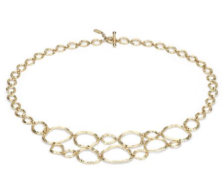 Collar artesanal tipo pechera en oro amarillo de 14k