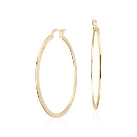 "Artisan Hoop Earrings in 14k Yellow Gold (1 1/2"")"