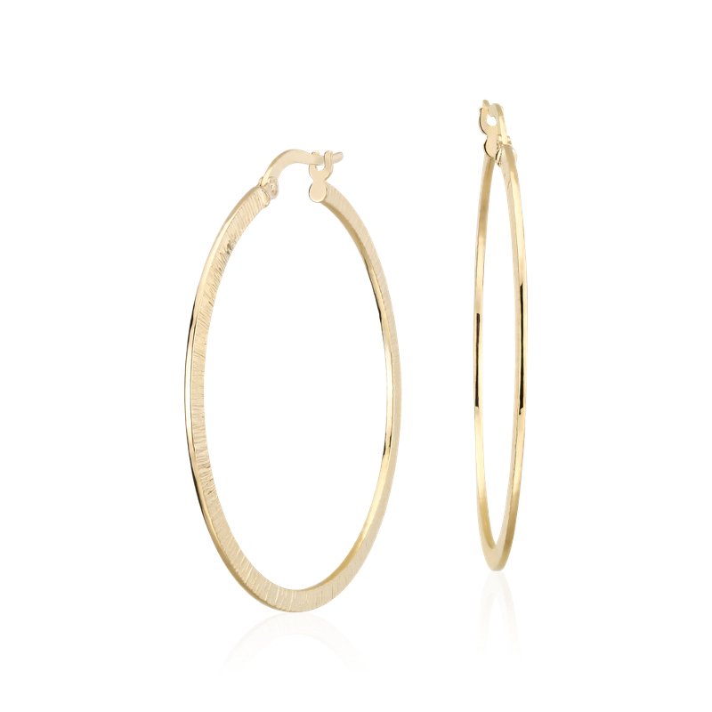 "Artisan Hoop Earrings in 14k Italian Yellow Gold (1 1/2"")"