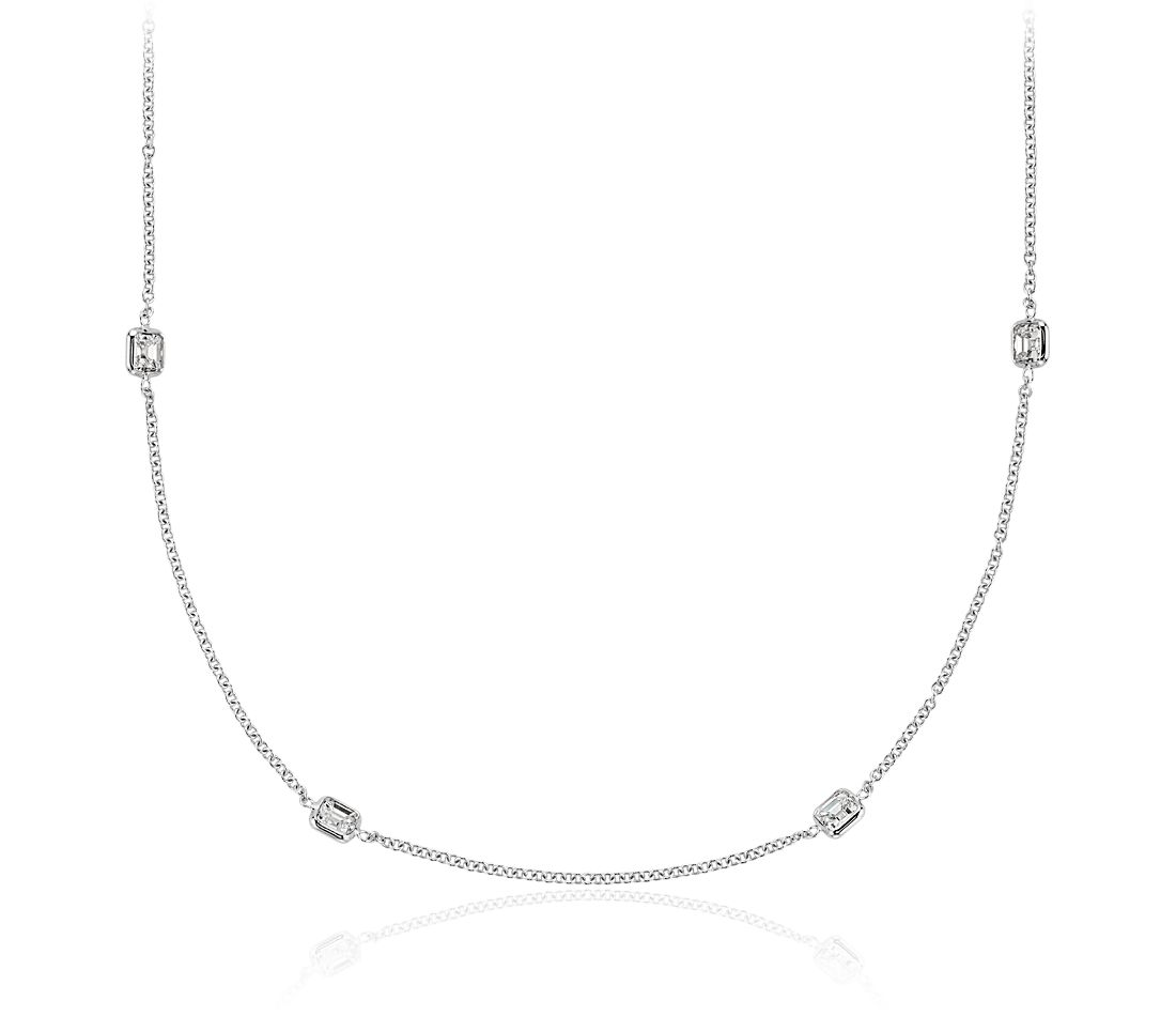 Collar de diamantes en bisel de talla Asscher Fancies by the Yard en oro blanco de 18 k (2 qt. total)