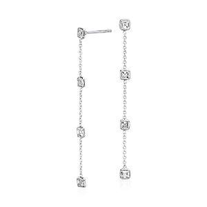 Fancies by the Yard Asscher-Cut Bezel Diamond Drop Earrings in 18k White Gold (1.50 ct. tw.)