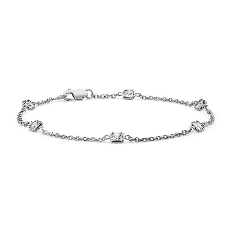 Fancies by the Yard Asscher-Cut Bezel Diamond Bracelet in 18k Whi