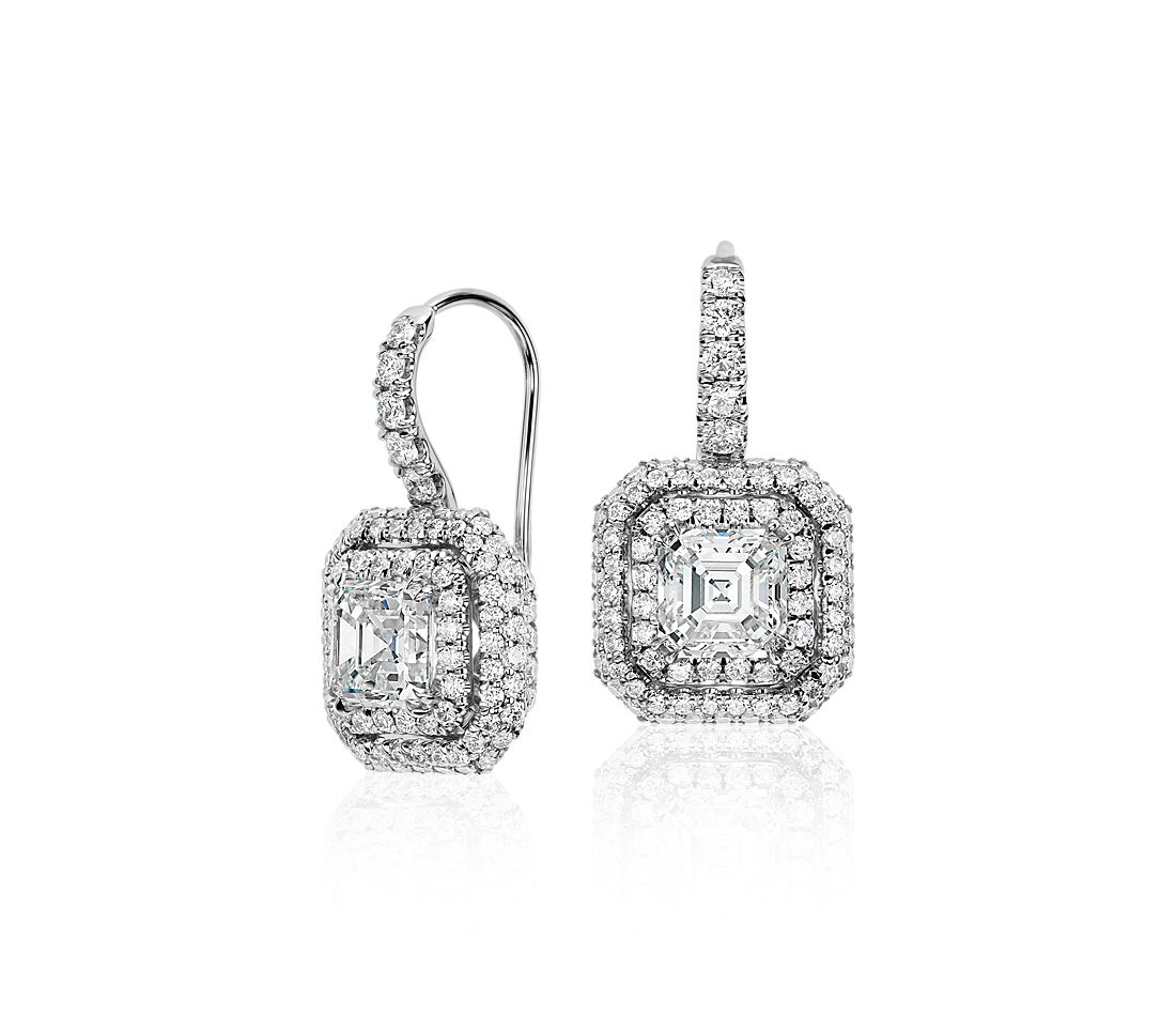 Cher Cut Diamond Double Halo Drop Earrings In 18k White Gold 2 69 Ct Tw