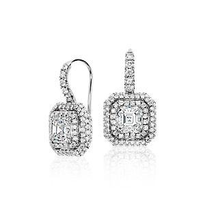 Créoles diamant taille Asscher en or blanc 18carats (2,69carats, poids total)