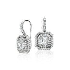 Asscher-Cut Diamond Double Halo Drop Earrings in 18k White Gold (2 3/4 ct. tw.)