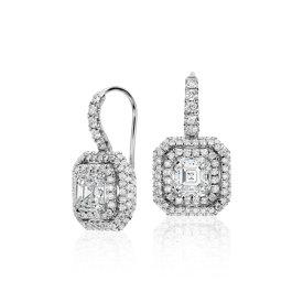 Aretes tipo argolla con diamantes de talla Asscher en oro blanco de 18 k (2,69 qt. total)
