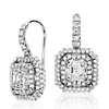 Asscher-Cut Diamond Double Halo Drop Earrings in 18k White Gold (2.69 ct. tw.)