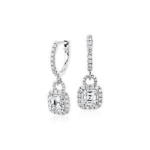 Aretes tipo argolla con diamantes de talla Asscher en oro blanco de 18 k (1,50 qt. total)